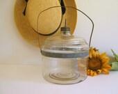 Reserved for Tom  Antique Kerosene Jar Glass - Metal Handle
