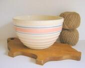 Stoneware Mixing Bowl, Vintage, Pink Blue Stripes, Serving Bowl, USA Pottery