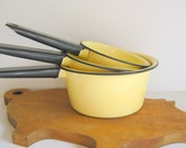 Vintage Yellow Enamelware Saucepans Pots Black Trim 1970's Set of Three by RollingHillsVintage on Etsy