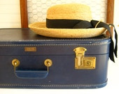 Navy Leather Suitcase Vintage Home Decor Storage by RollingHillsVintage on Etsy