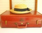 Reserved for Stevie Brown Leather Suitcase Vintage Samsonite Home Decor Storage