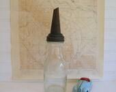 Reserved For Karen..Motor Oil Duraglas Bottle Metal Spout Vintage 1920s by RollingHillsVintage