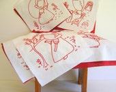 Sunbonnet Sue Quilt Blocks Twelve Vintage Red Hand Embroidered