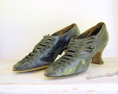 Reserved for Adam Antique Black Leather Ladies Shoes Edwardian 1900s Jet Beading