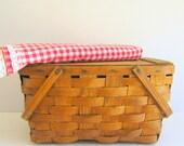 Vintage Market Basket Woven Wood Picnic Basket