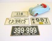 Vintage License Plates 1954 Travel Vacation Signage