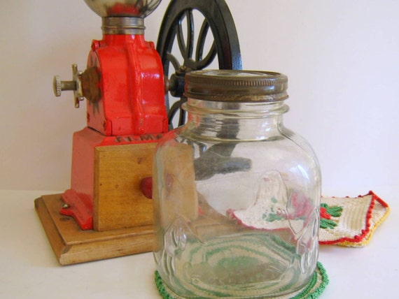Vintage Glass Iris Coffee Jar