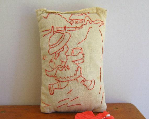 Primitive Redwork Pillow Hand Emdroidered Vintage Folk Art Little Girl Valentine by RollingHillsVintage on Etsy