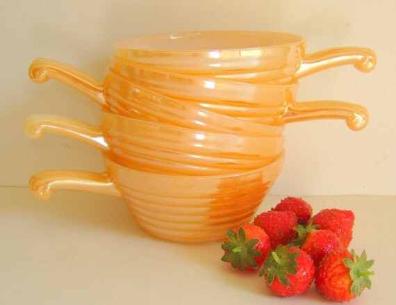 Anchor Hocking Fire King Peach Swirl Lusterware Bowls Vintage Soup Chili Bowls Handles RollingHillsVintage