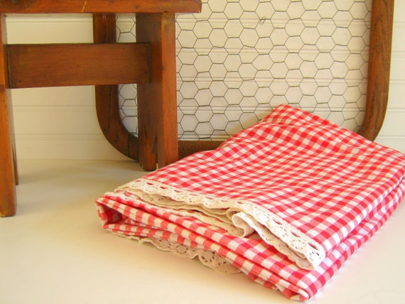 Red Gingham Fabric White Lace Trim French Vintage