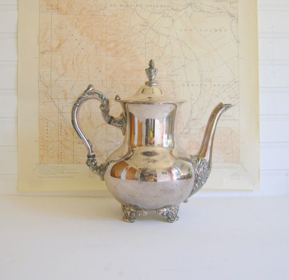 Reserved for Neridah Vintage Silver Plated Teapot Cottage Chic by RollingHillsVintage on Etsy