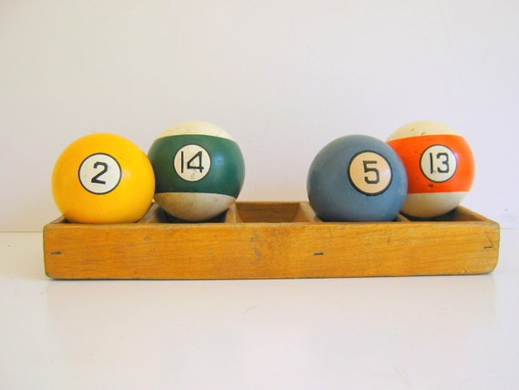 Reserved for Lili    Vintage Billiard Balls or Pool Balls Bright Rainbow Colors Set of 4