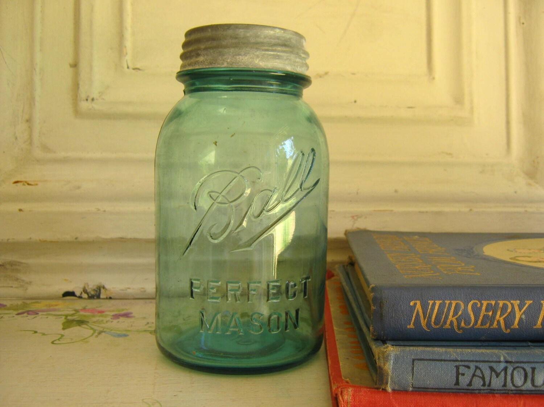 antique blue ball perfect mason jar 1910 1923. Black Bedroom Furniture Sets. Home Design Ideas