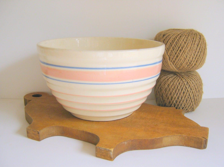 Stoneware Mixing Bowl Vintage Pink Blue Stripes Serving