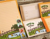TWO SETS LEFT - Happy Days Letter Set - 8 recycled writing sheets with envelopes