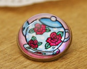 English Rose Teapot Glass Brooch - Round bronze brooch with flowers and polka dots