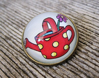 Watering Can Glass Brooch - Round bronze brooch with polka dot teapot