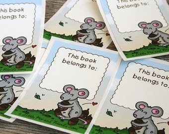 Mouse Hugger Book Stickers - set of 6 adhesive labels, ex-libris library bookplates, full colour, recycled