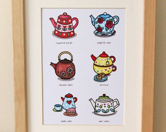 Teapot Collection Art Print 5 x 7 inches by Helena Tay, signed edition, mod retro, vintage kitchen poster art