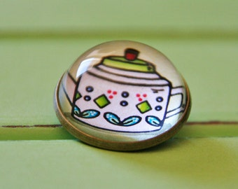 Mod Retro Teapot Glass Brooch - Round bronze brooch with leaves and polka dots