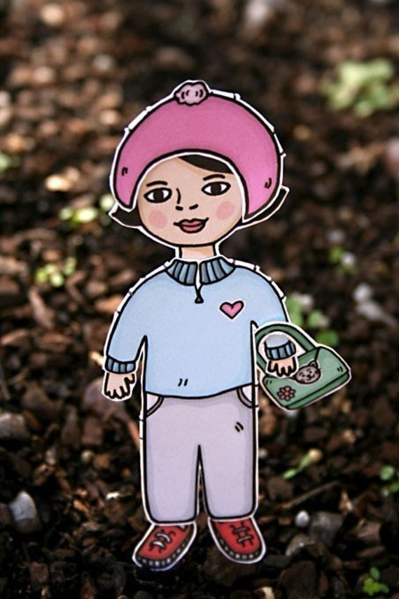 Paper Doll set - Winter Holiday theme - Play dress up with fashion accessories for children