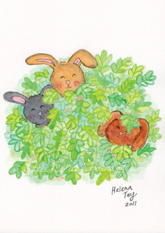 Hide and Seek Bunnies in Spring - Original painting by Helena Tay