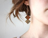 Two Square Earrings - tribal - geometric shapes - chevron - By Corrieberry Pie