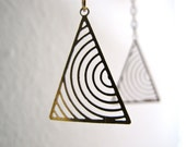 Geometry Earrings - vintage triangle charms - tribal - mod - By Corrieberry Pie