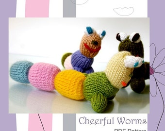 Cheerful Worms - Toy Knitting Pattern PDF