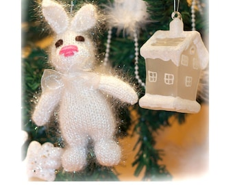 Christmas Tree ornaments - Bunny Toy Knitting Pattern PDF