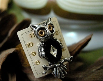 Steampunk Ring, Owl Ring, Steampunk Owl, Adjustable Ring, Gift for Her