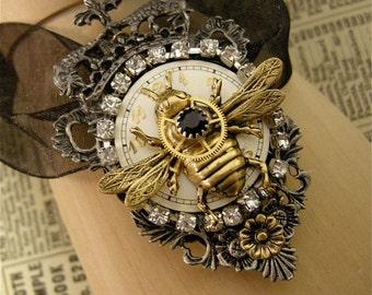 Steampunk Queen Bee Necklace, Queen Bee Necklace, Steampunk Queen Bee, Queen Bee, Bee Necklace, Bumble Bee Necklace, Jeweled Bee Necklace.