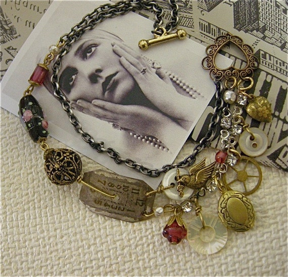 Toggle Bracelet - Steel and Roses -