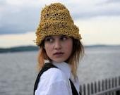 Indian Summer Yellow Raffia Travelling Crunch Hat Unisex