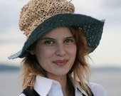 Raffia Handknit Handwoven Travelling Crunch Hat with Wide Brim
