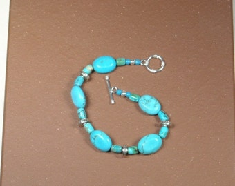 TURQUOISE and SILVER BRACELET, Handmade turquoise Bracelt with silver Catch,Southwest Style Bracelet of all natural turquoise,Silver accents