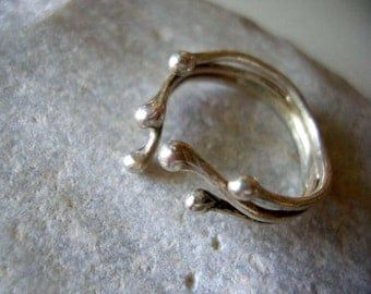 Sterling Silver Blossoming Branches Adjustable Ring. Twig Jewelry. Engagement Ring. Elvish jewelry.