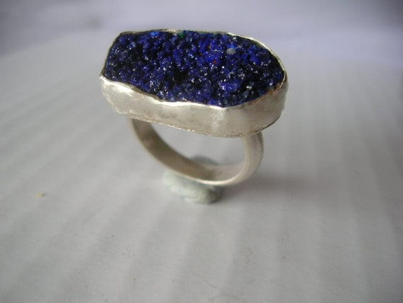 Azurite and sterling silver ring