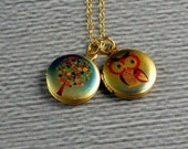 14K Gold Filled Chain, Delicate Chain, Miniture sized, Small Colorful Owl, family Tree Locket, Family Locket, Photo Lockets
