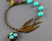 Antique Bronze Sparrow Robin  Vintage Aqua bead Egg Nest blue Leaf Flower Bracelet