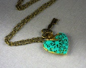 Hand Patina Heart Key Bird Locket