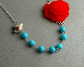 Turquoise Red Shell Pearl Floral Flower Silver Bird Bridal Necklace- EMMA
