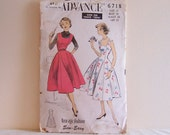 Misses and Teenage Dress or Jumper Size 12 Bust 30 Vintage 1950s Sewing Pattern by Advance 6718