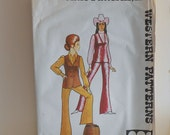 Misses Western Vest and Pants Size 12 Vintage Sewing Pattern by Authentic Patterns 202
