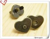 20 Sets 22mm antique brass heart shape Magnetic Snap Closures F21