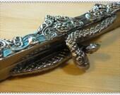 5 3/4 inch big size snake purse frame Gunmetal brush   D4
