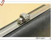 16.5cm x 8cm(6 1/2 x  3 1/8 inch) rectangle dressing case purse frame Silver with with rhinestone  K64