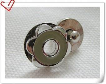 17mm hexapetalous flower Magnetic Snaps bag button purse Magnetic Snaps button GRAY F63