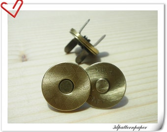 Magnetic Snaps 18mm ultra thin anti bronze brushed  20sets F10
