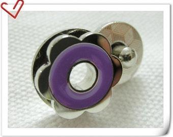 17mm hexapetalous flower Magnetic Snaps bag button purse Magnetic Snaps button PURPLE  F54